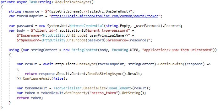 wysłanie żądania typu POST do punktu końcowego Microsoft OAuth 2.0.