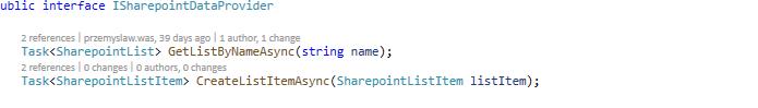 zdefiniowany serwis w API
